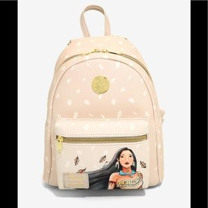 Loungefly Pocohontas cream leaves mini backpack